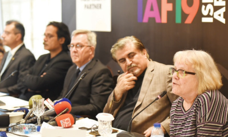 Dr Vicky Clark speaks at a press conference in Islamabad on Friday. Former PNCA director general Jamal Shah and French Counsellor for Cooperation and Cultural Affairs Andre de Bussy are also present. — White Star