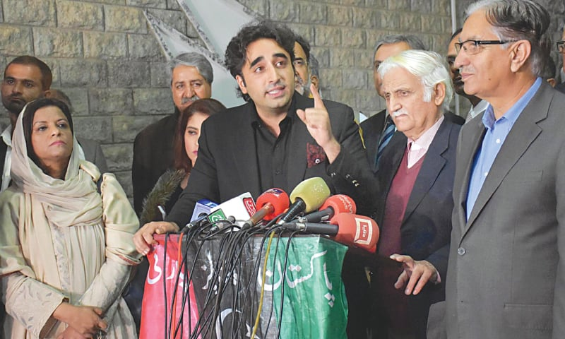 ISLAMABAD: Pakistan Peoples Party chairman Bilawal Bhutto-Zardari addressing a press conference after the party's core committee meeting on Friday.—Online