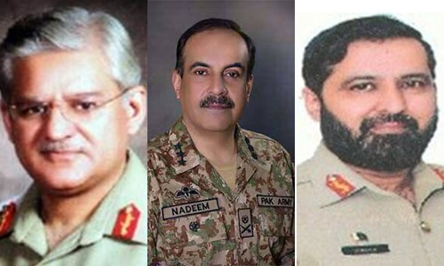 Top contenders for the office of chairman are (L-R) Strategic Plans Division (SPD) Director General Lt Gen Sarfraz Sattar, Chief of General Staff (CGS) Lt Gen Nadeem Raza and Commander V Corps, headquartered at Karachi, Lt Gen Humayun Aziz. — Dawn.com