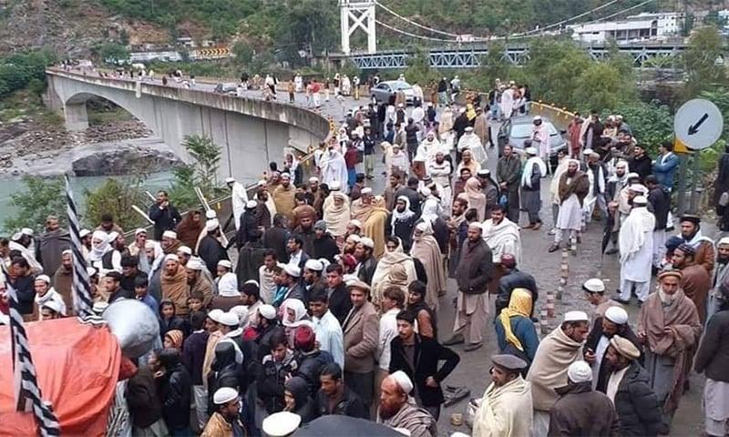 Protesters block Karakarom Highway. — Photo provided by Umar Bacha