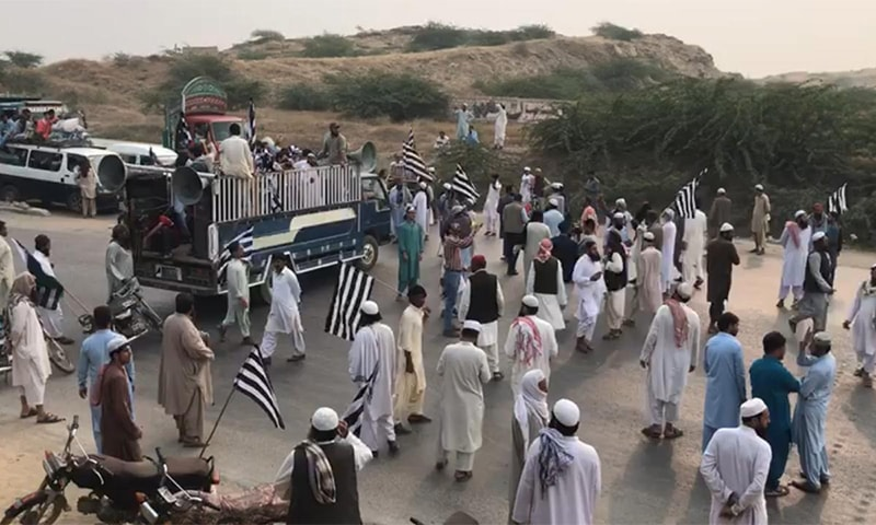 JUI-F protesters block Hub River Road. — Photo provided by Ismail Sasoli