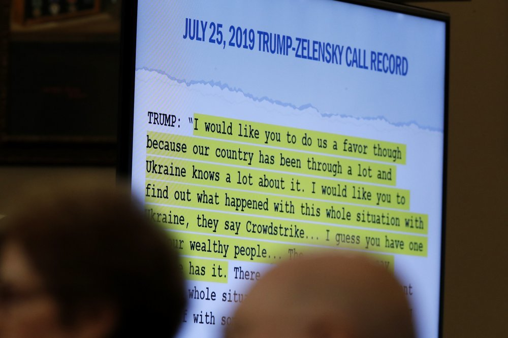 A quote is shown on a monitor as former Ambassador to Ukraine Marie Yovanovitch testifies before the House Intelligence Committee on Capitol Hill in Washington on Friday. ─ AP