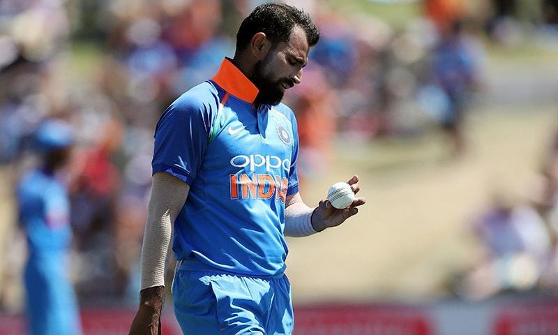 In this file photo taken on January 28, 2019, India's Mohammed Shami prepares to bowl during the third one-day international cricket match between New Zealand and India at Bay Oval in Mount Maunganui. — AFP/file