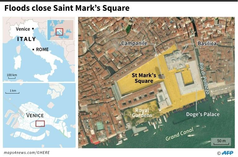 Floods close St Mark's Square. — AFP