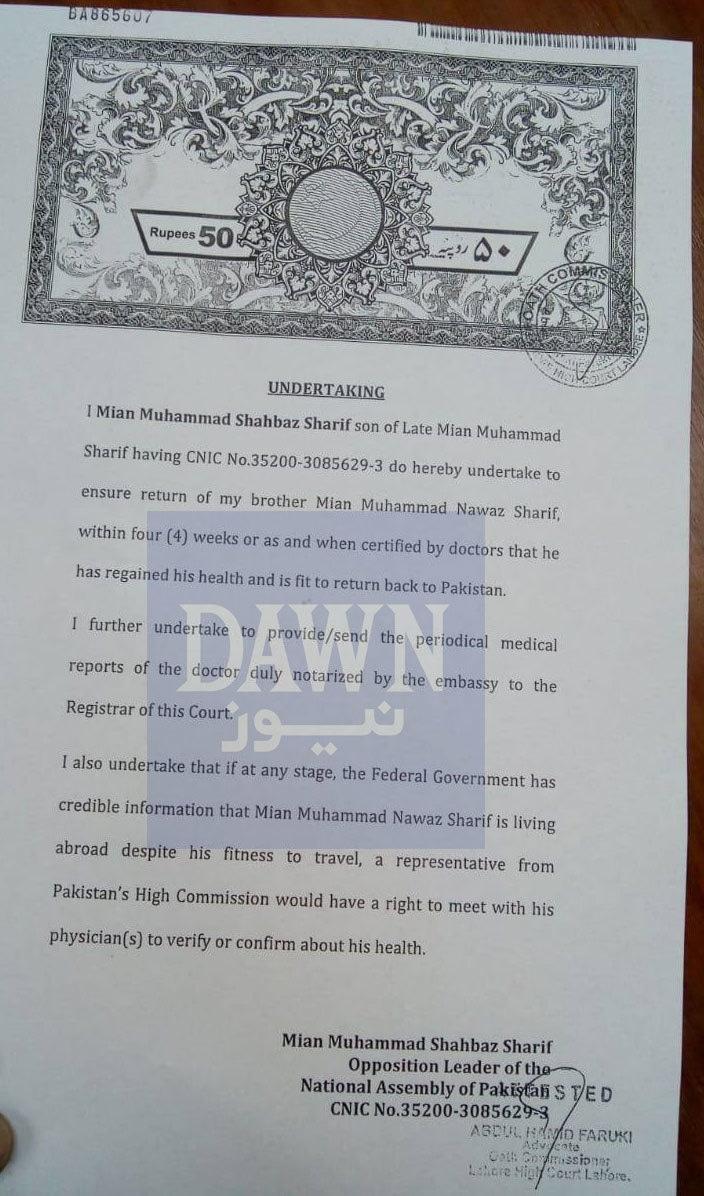 شہباز شریف نے عدالت میں بیان حلفی جمع کرادیا
