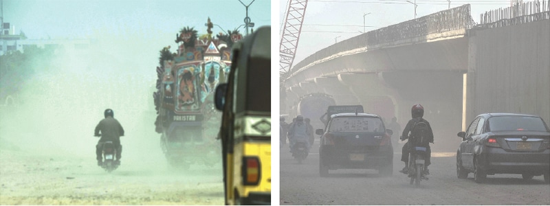 High levels of dust in the city generated by construction projects and bad roads has created health hazards, as seen in the SITE area and (right) North Nazimabad. —Fahim Siddiqi/White Star