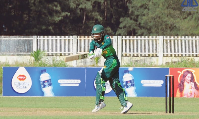 COX'S BAZAR: Pakistan's Rohail Nazir pulls during his knock of 37 against Sri Lanka in the ACC Emerging Teams Asia Cup tie at the Sheikh Kamal International Cricket Stadium on Saturday.—Courtesy PCB