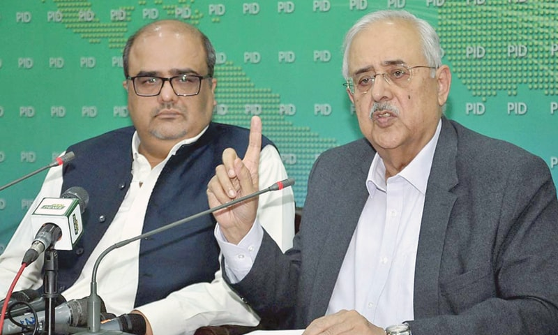 ISLAMABAD: Shahzad Akbar, Special Assistant to the Prime Minister on Accountability, and Attorney General Anwar Mansoor Khan pictured during the press conference.—APP