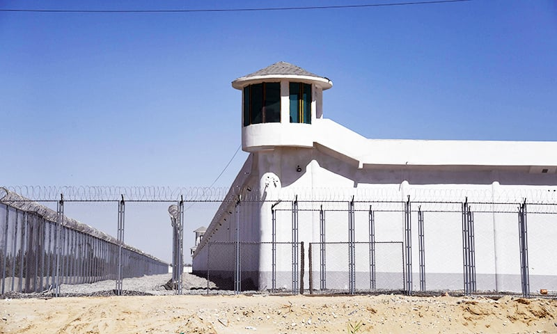 This file photo taken on May 31, 2019 shows a watchtower on a high-security facility near what is believed to be a re-education camp where mostly Muslim ethnic minorities are detained, on the outskirts of Hotan, in China's northwestern Xinjiang region. — AFP