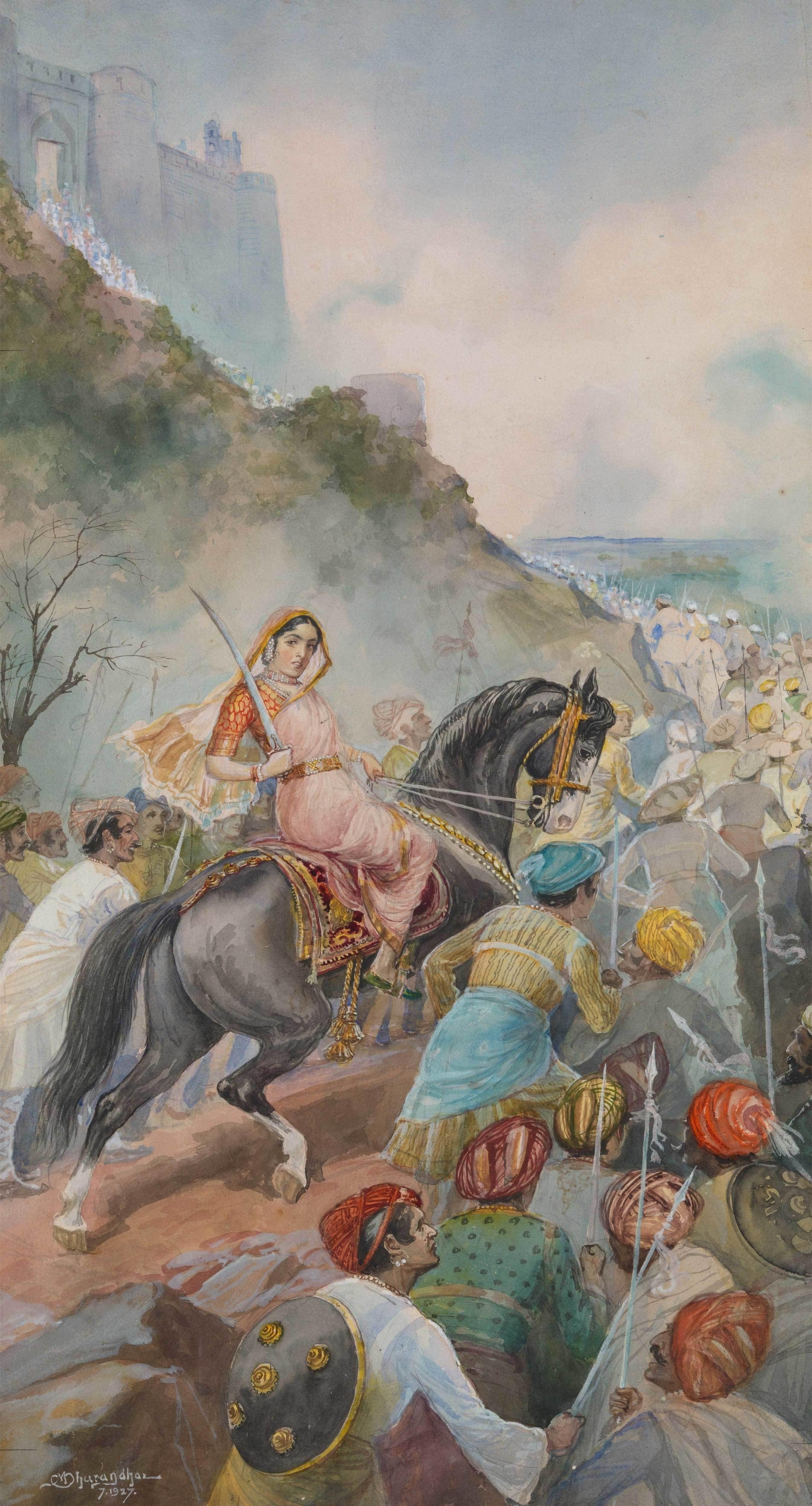 A 1927 depiction of Tarabai in battle by noted Marathi painter M. V. Dhurandhar.
