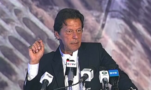 Prime Minister Imran Khan  addressing the inauguration ceremony of Havelian-Thakot section of the motorway on Monday, November 18, 2019. — DawnNewsTV