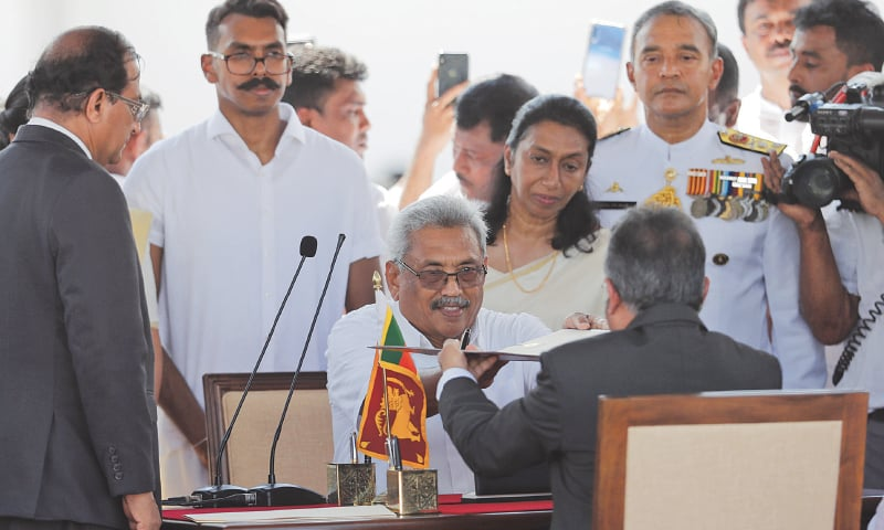 Gotabaya Rajapaksa sworn in as Sri Lanka's president