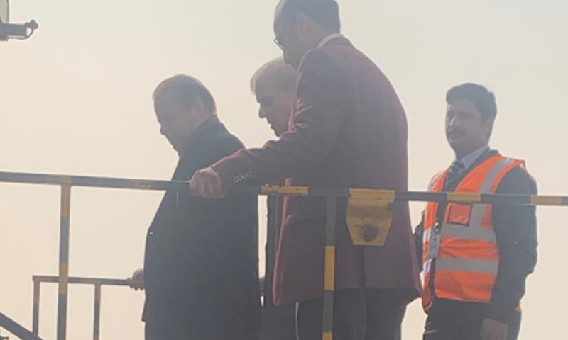 Former premier Nawaz Sharif leaves for London, accompanied by his brother Shehbaz Sharif. — DawnNewsTV