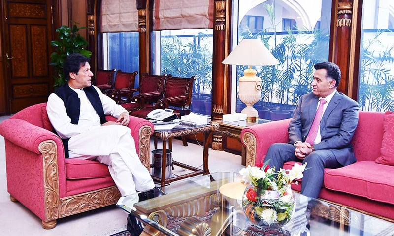 PM Imran Khan in a meeting with DG ISI Lt Gen Faiz Hameed. — Photo courtesy PM's Office/File