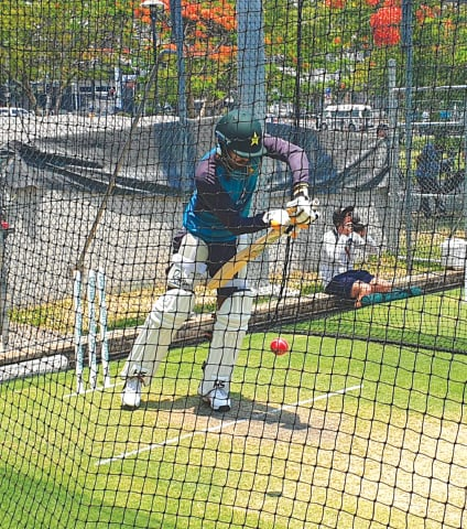 BABAR Azam bats in the nets ahead of the first Test.—PCB