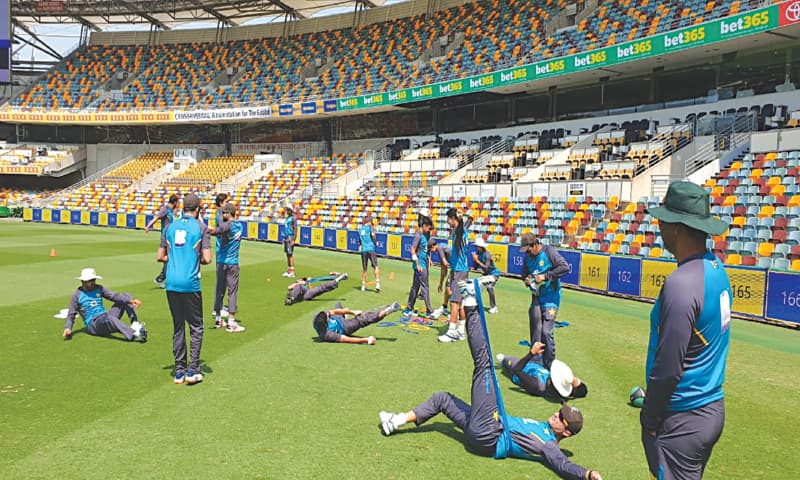 BRISBANE: Pakistan cricketers undergo physical exercises during a training session at the Gabba on Tuesday.—Courtesy PCB