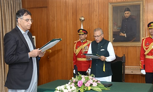 Asad Umar takes oath as planning minister