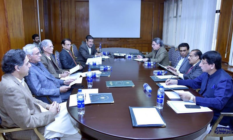 MQM delegation holds a meeting with the government team at the PM's Secretariat. — Photo courtesy: MQM media cell