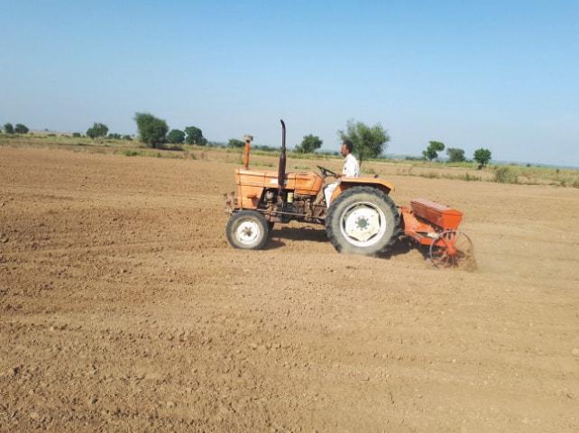 A farmer sows wheat near Chakwal. — Dawn