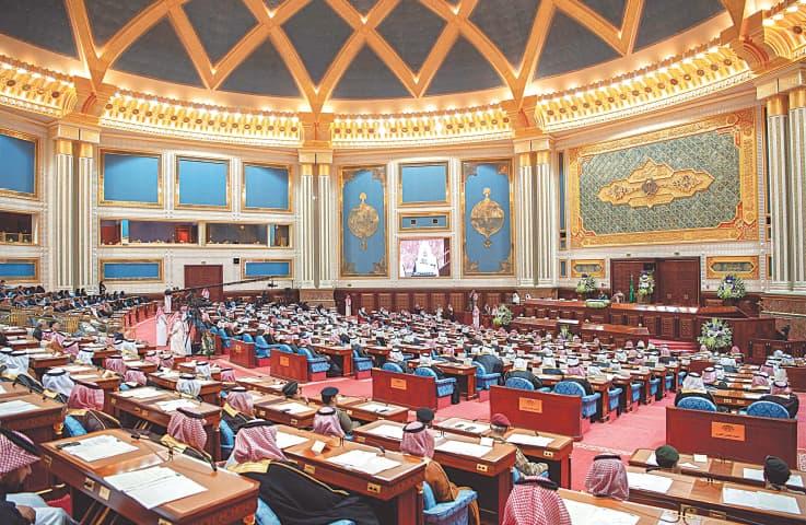 Riyadh: A general view of a meeting of the Shura, an advisory body, before the speech by Saudi King Salman bin Abdulaziz.—AFP