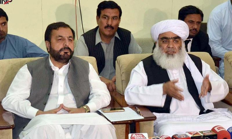 "JUI-F's Wassay (right) said that opposition parties had proved their strength in Islamabad's Azadi march. ""The federal government has been claiming that there are differences between opposition parties but as of now rifts have surfaced between the PTI and its coalition partners,"" he added. — INP/File"