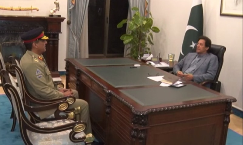 Newly appointed CJCSC Lt Gen Nadeem Raza calls on PM Imran Khan on Thursday. — Screengrab
