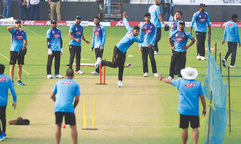KOLKATA: Bangladesh's Mahmudullah bowls during a practice session on Thursday.—AP