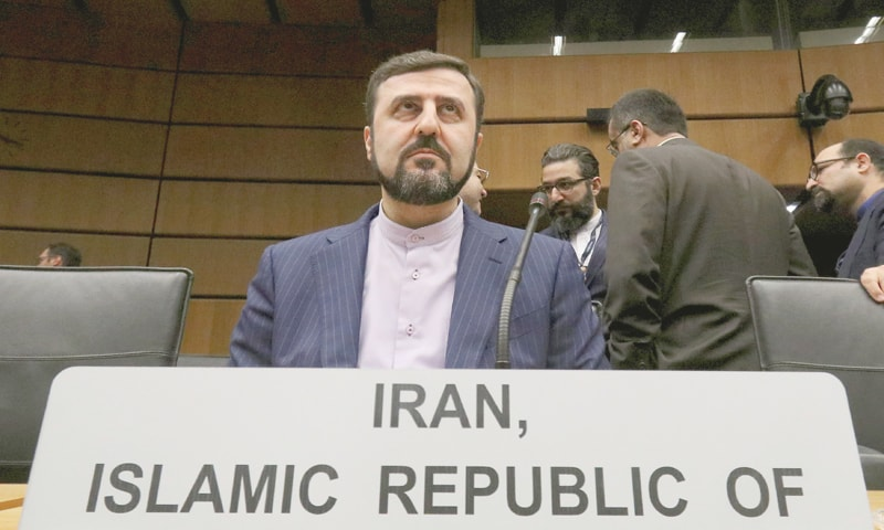 Vienna (Austria): Iran's Ambassador to the IAEA Gharib Abadi waits for the start of the meeting on Thursday.—AP