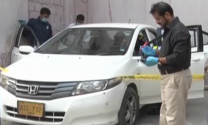 According to SSP South Sheeraz Nazeer, the Gizri policemen were following the victims after which they fired upon their car while it was parked. — DawnNewsTV