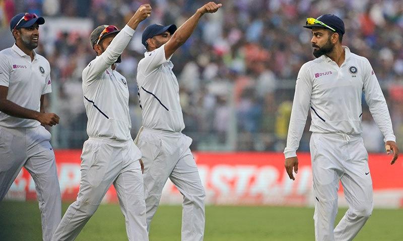 بھارت کے فاسٹ باؤلرز نے بنگلہ دیش کی پوری ٹیم کو 106 رنز پر آؤٹ کردیا—فوٹو:اے پی