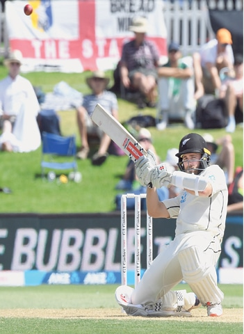 NEW ZEALAND captain Kane Williamson ducks under a rising delivery during the first Test against England at the Bay Oval on Friday. —Reuters