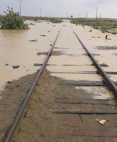 A view of a submerged railway track in Chagai district.—Dawn