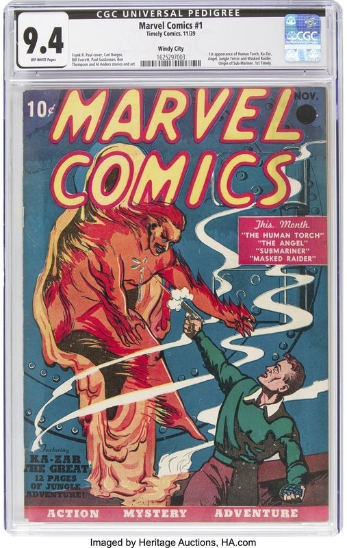 Cover of the first Marvel Comics comic book sold in Dallas, dated 1939.