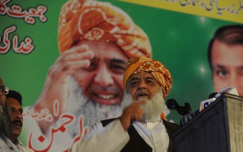 Maulana Fazlur Rehman Speaks to a gathering at Gulshan-i-Iqbal | M.Arif/White Star