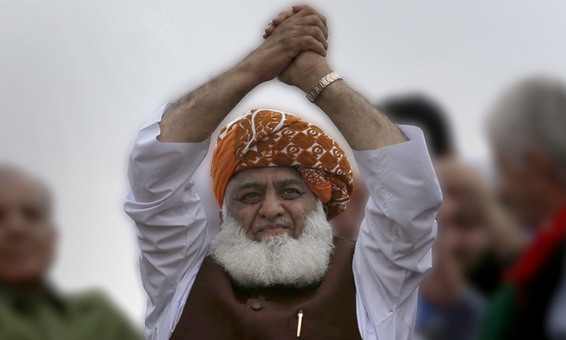 Maulana Fazlur Rehman at the 'Azadi March' in Islamabad | AP