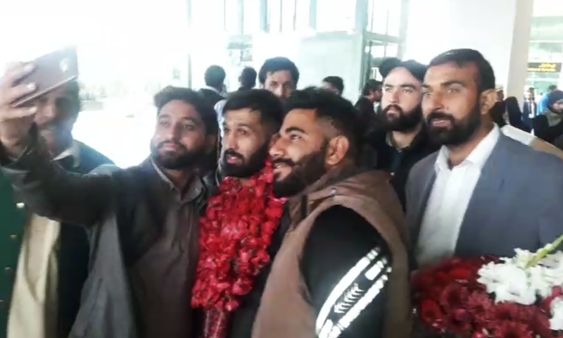 Pakistan's professional boxer Mohammad Waseem arrives in Islamabad on Sunday.  — DawnNewsTV