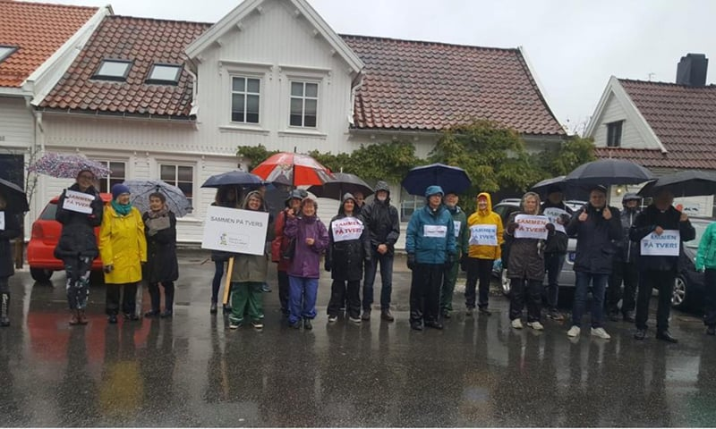 "During Friday prayers, a group of people from Kristiansand assemble outside the mosque to express their sympathy for Muslims. They were holding placards inscribed with slogans ""together, even if we are different"", Nov 22, 2019. — Photo by shared by Muslim Union Agder)"
