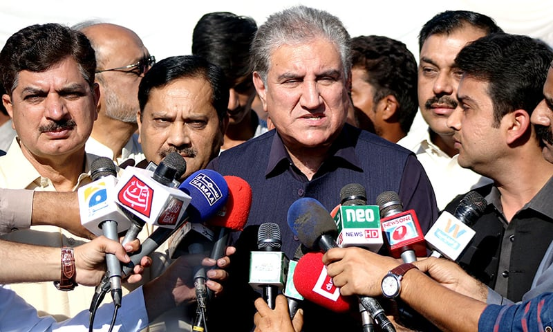 Foreign Minister Shah Mahmood Qureshi speaks to media in Multan on Sunday. — PID