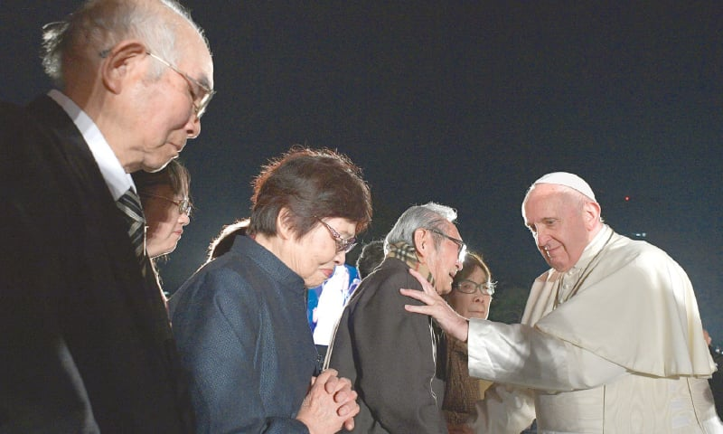 Image result for pope francis meets survivors of nuclear weapons