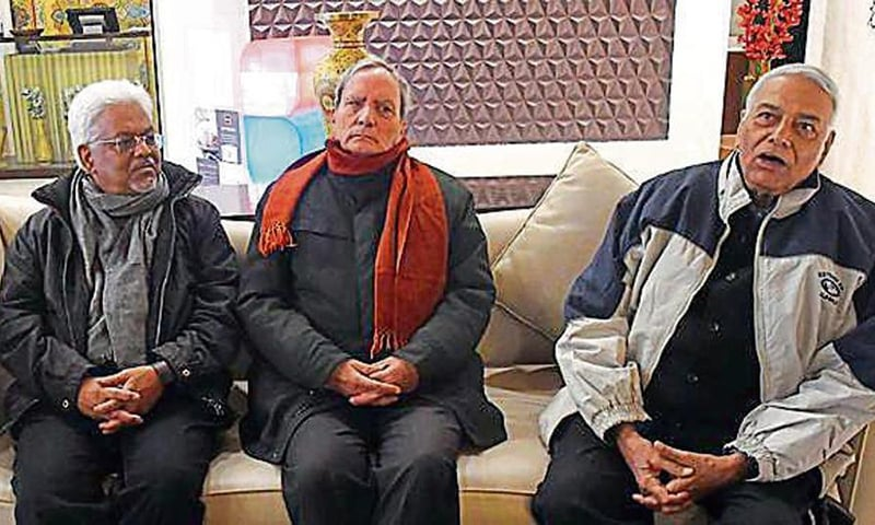 The Times of India reported on Sunday that for the second consecutive day, the five-member delegation led by former Union minister Yashwant Sinha (extreme right) was not allowed to go out of the main city of India-held Kashmir. — Photo courtesy Hindustan Times