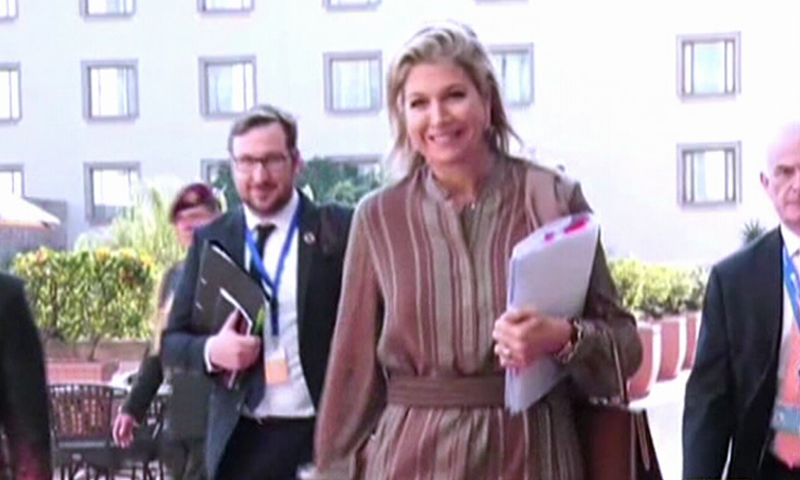 The Dutch queen was received by senior officials of the foreign ministry and representatives of the Embassy of Netherlands at Nur Khan Air Base on Monday. — DawnNewsTV
