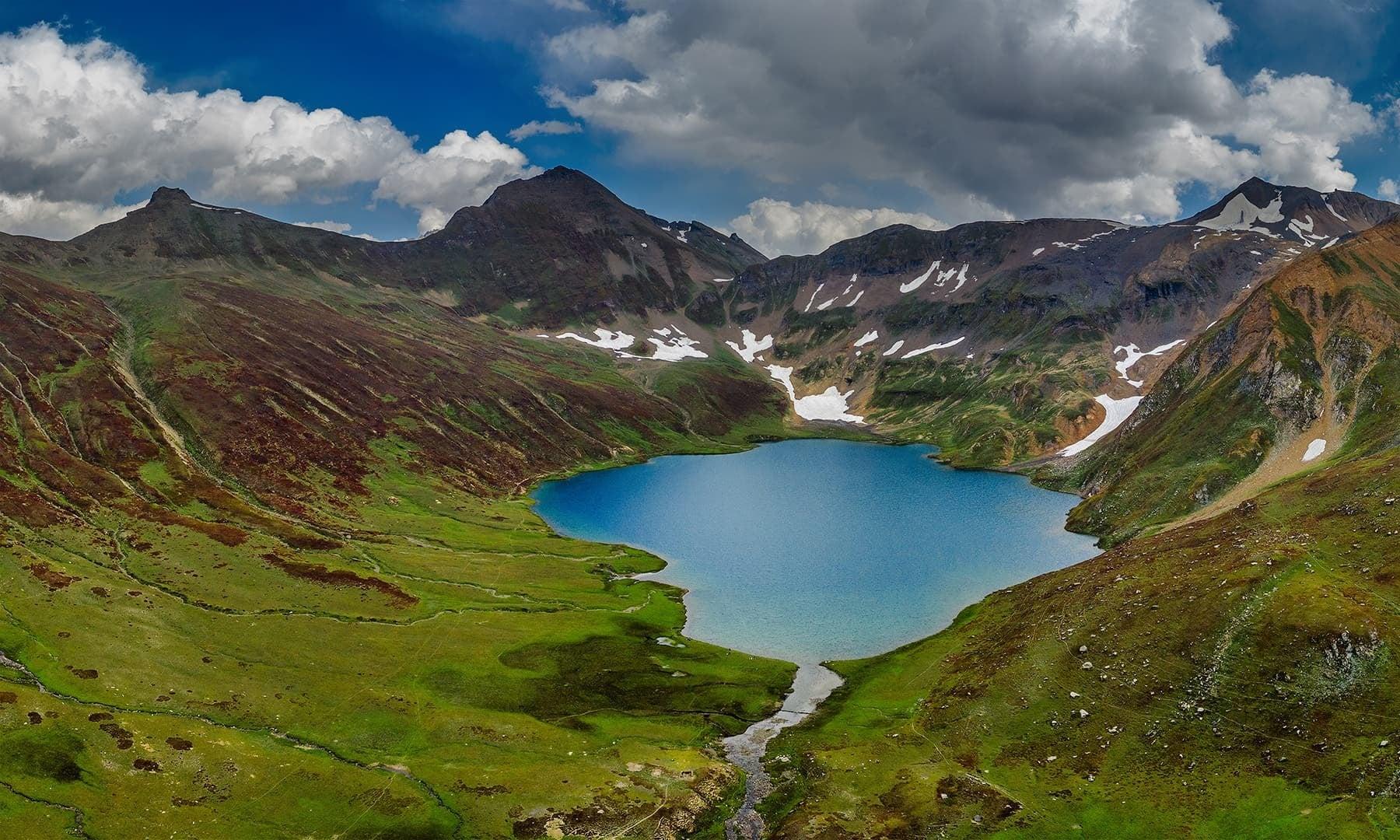 Aerial view of Dudipatsar Lake. — Photo by Syed Mehdi Bukhari