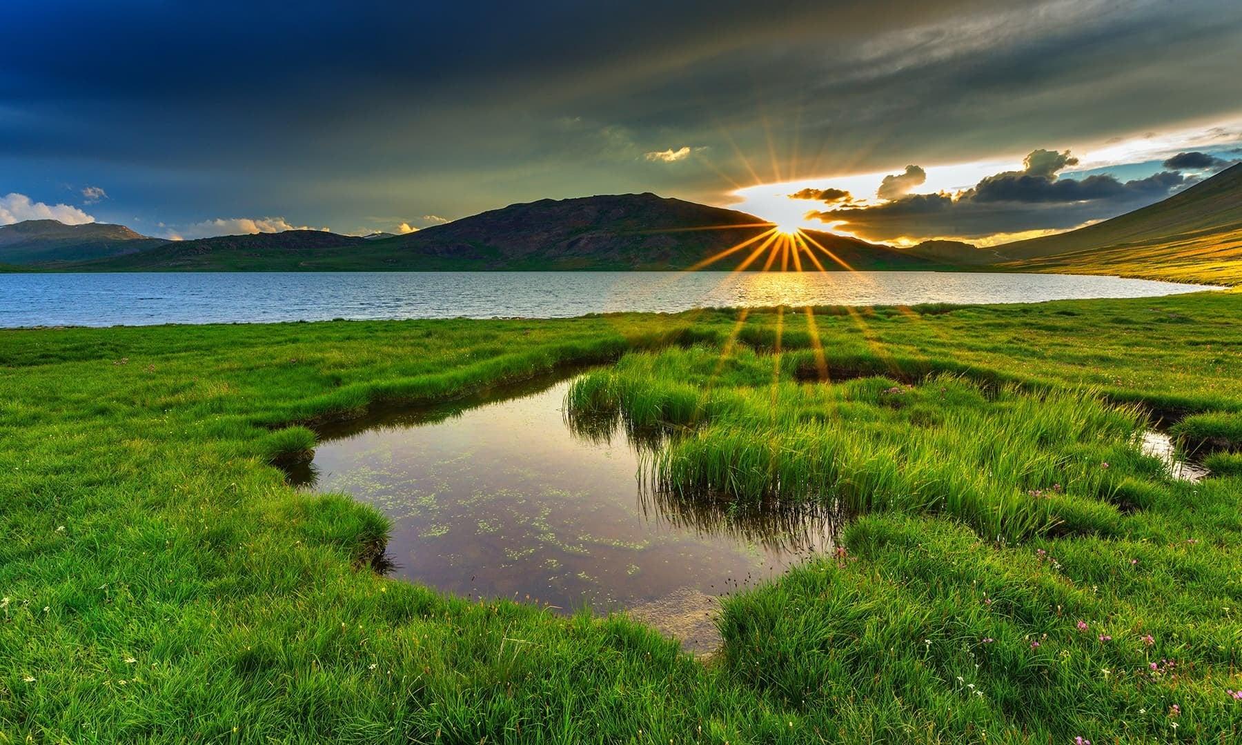 Sunset at Sheosar Lake. — Photo by Syed Mehdi Bukhari
