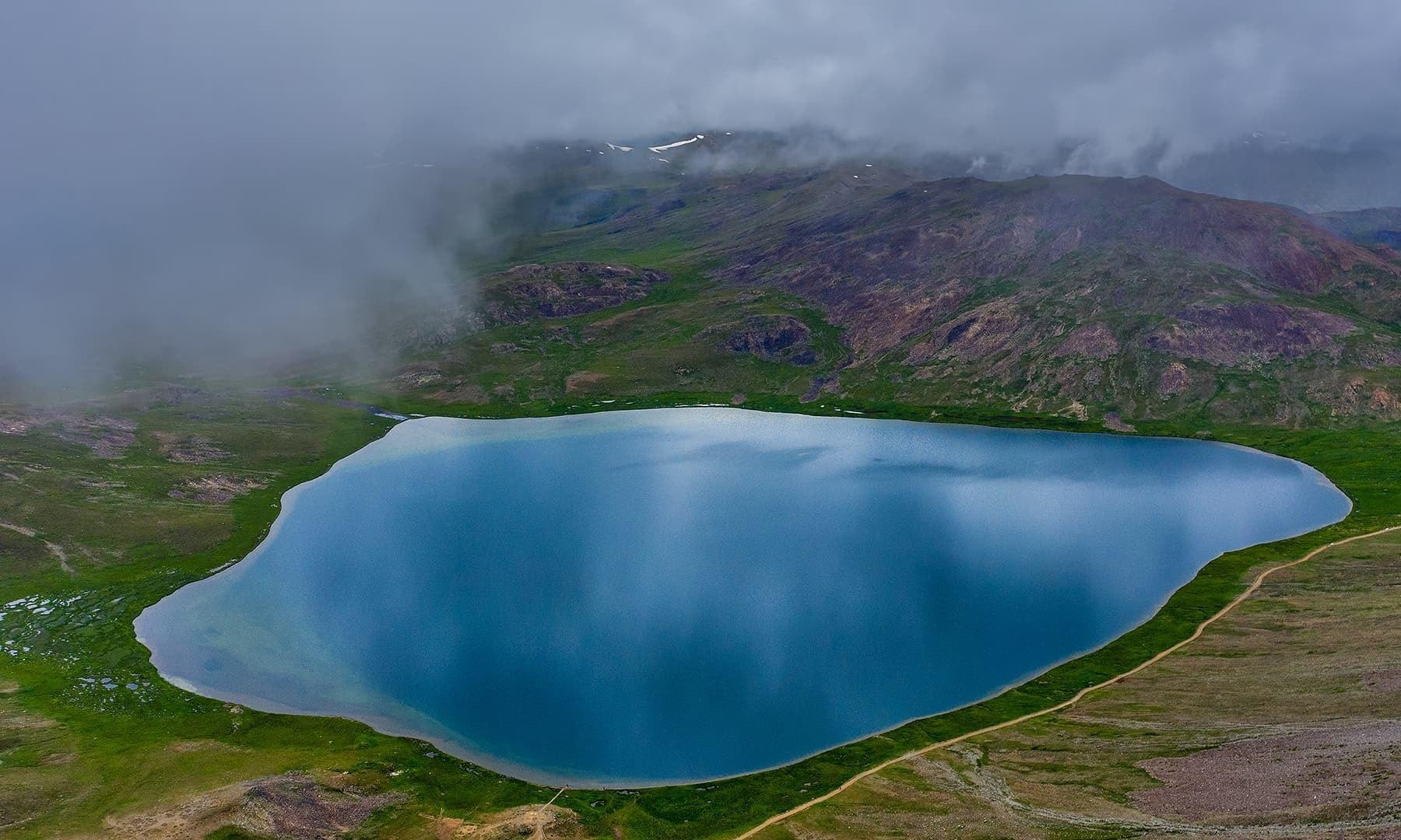 Aerial view of Sheosar Lake. — Photo by Syed Mehdi Bukhari