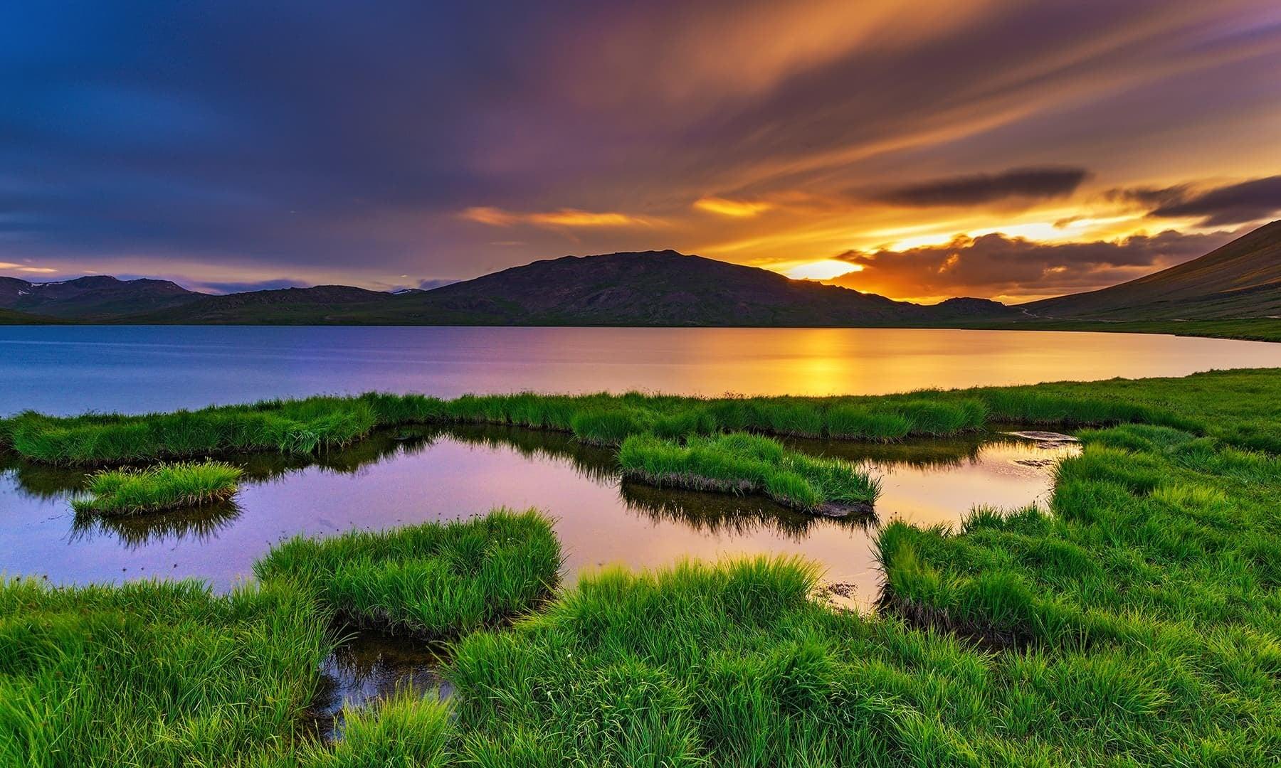 The last rays of the sun at Sheosar Lake. — Photo by Syed Mehdi Bukhari