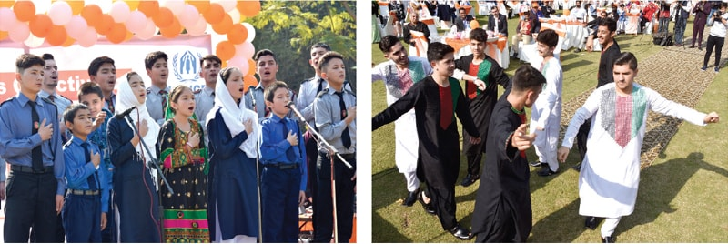 Afghan refugee students sing the national anthems of Pakistan and Afghanistan during the '16 Days of Activism to End Gender-Based Violence' event on Monday. The other picture shows Afghan boys dancing to their local music. — Photos by Tanveer Shahzad