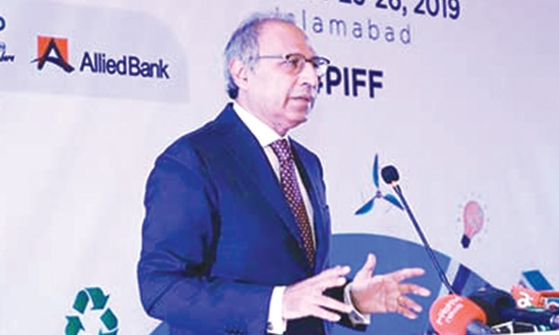 Finance Adviser Abdul Hafeez Shaikh addressing the inaugural session of Pakistan Innovative Finance Forum on Monday.