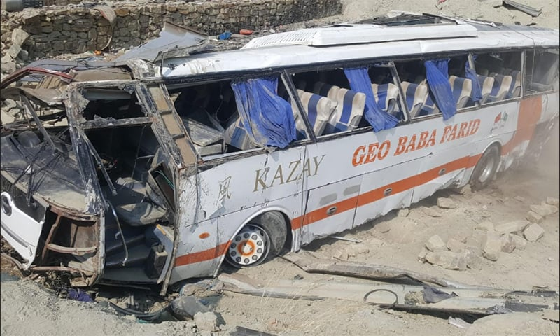 At least nine individuals lost their lives while 29 others were injured when a coach carrying Pakistan Navy personnel and their families from Ormara to Karachi developed a mechanical fault and fell into a deep ditch. — Photo provided by author