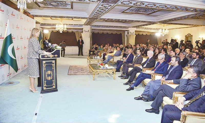 ISLAMABAD: Queen Maxima of the Netherlands addresses the launching ceremony of Ehsaas Financial Inclusion Initiative at the PM Office on Tuesday.—APP