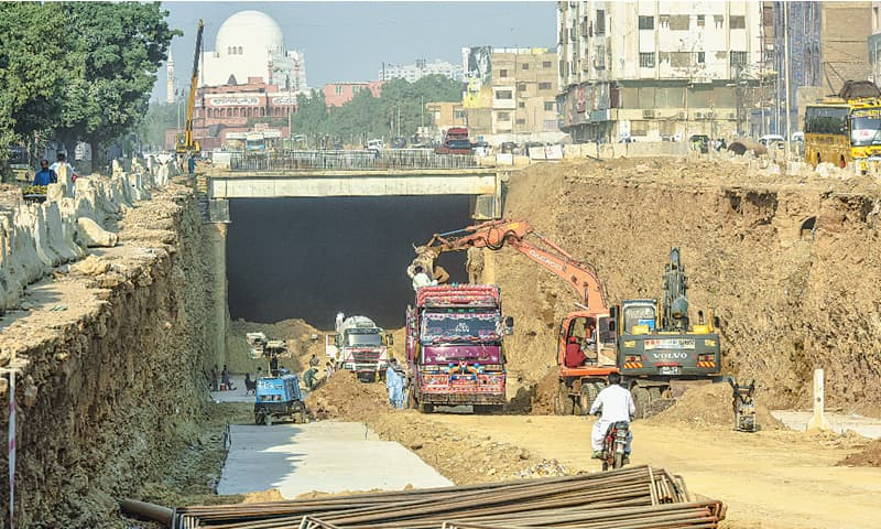 The federally-funded under-construction Green Line project at M.A. Jinnah Road — that was started in 2016 — still awaits completion.